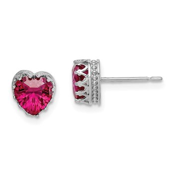 10k Tiara Collection White Gold 6mm Polished Heart Created Ruby Earrings