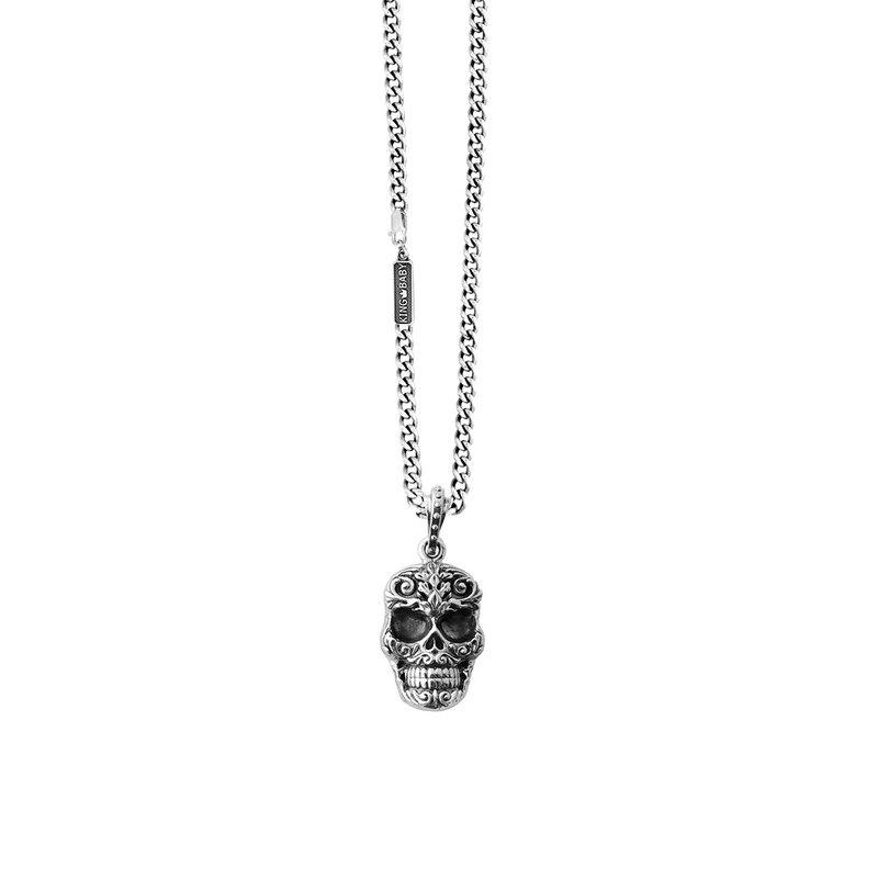 King Baby Carved Baroque Skull Pendant On 24 In. Fine Curb Link Chain