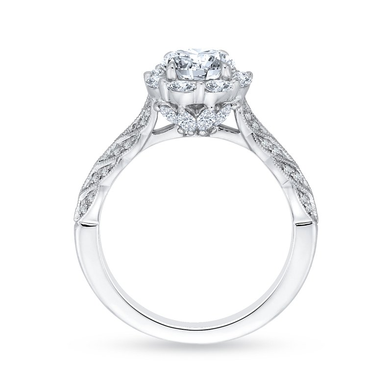 Carizza 14K White Gold Round Diamond Floral Halo Engagement Ring (Semi-Mount)