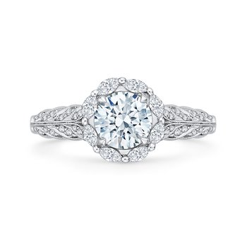 14K White Gold Round Diamond Floral Halo Engagement Ring (Semi-Mount)