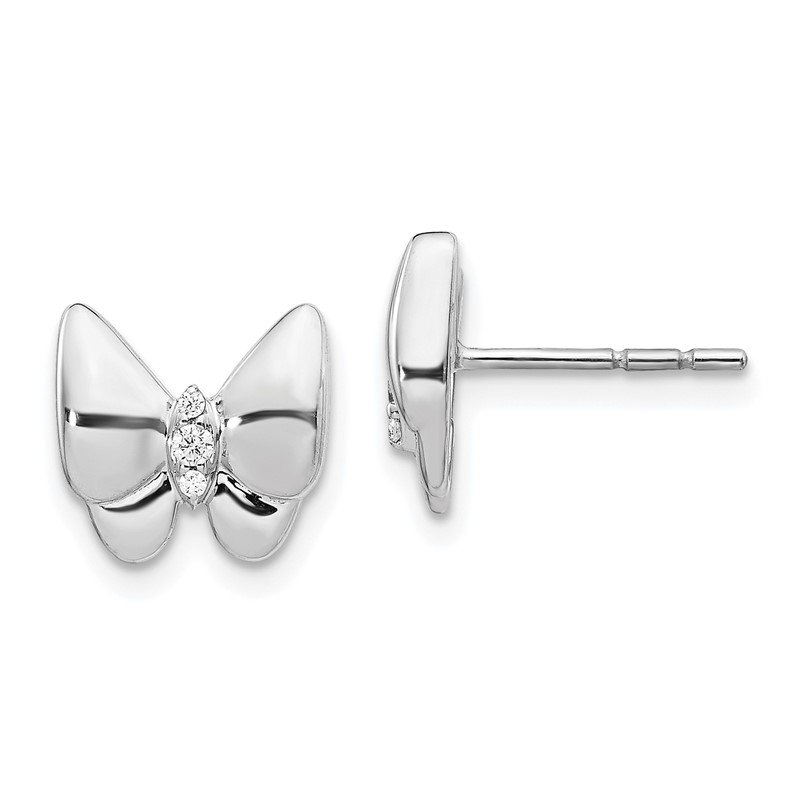 Quality Gold 14k White Gold Diamond Butterfly Earrings
