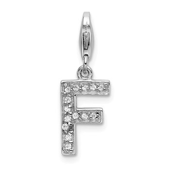 Sterling Silver CZ Letter F w/Lobster Clasp Charm