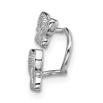 Sterling Silver Rhodium-plated CZ Double Butterfly Right Cuff Earring