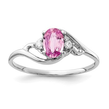 14k White Gold 6x4mm Pink Sapphire & AA Diamond Ring