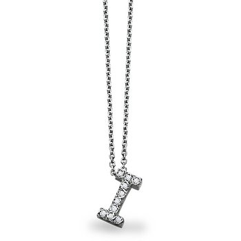 "Diamond Block Initial ""I"" Necklace in 14k White Gold with 10 Diamonds weighing .10ct tw."