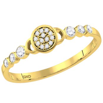 14kt Yellow Gold Womens Round Diamond Cluster Stackable Band Ring 1/6 Cttw