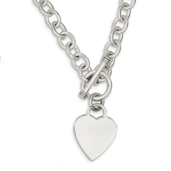 Sterling Silver Engraveable Heart Fancy Link Toggle Necklace