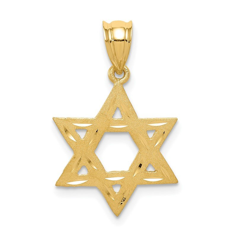 Quality Gold 14k Solid Satin Star of David Charm