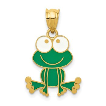 14k Green and White Enameled Frog