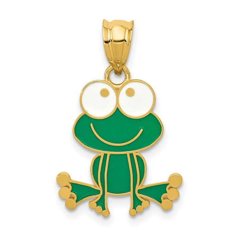 Quality Gold 14k Green and White Enameled Frog