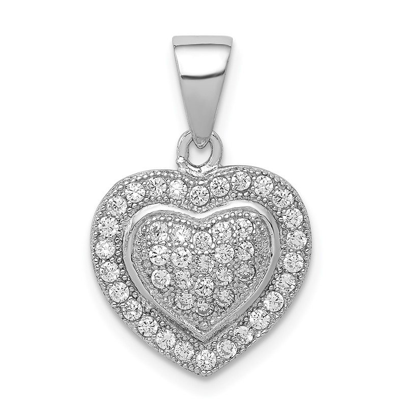 Quality Gold Sterling Silver Rhodium-plated Polished CZ Heart Pendant