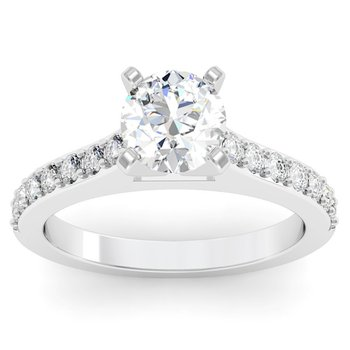 Bead-Set Diamond Engagement Ring