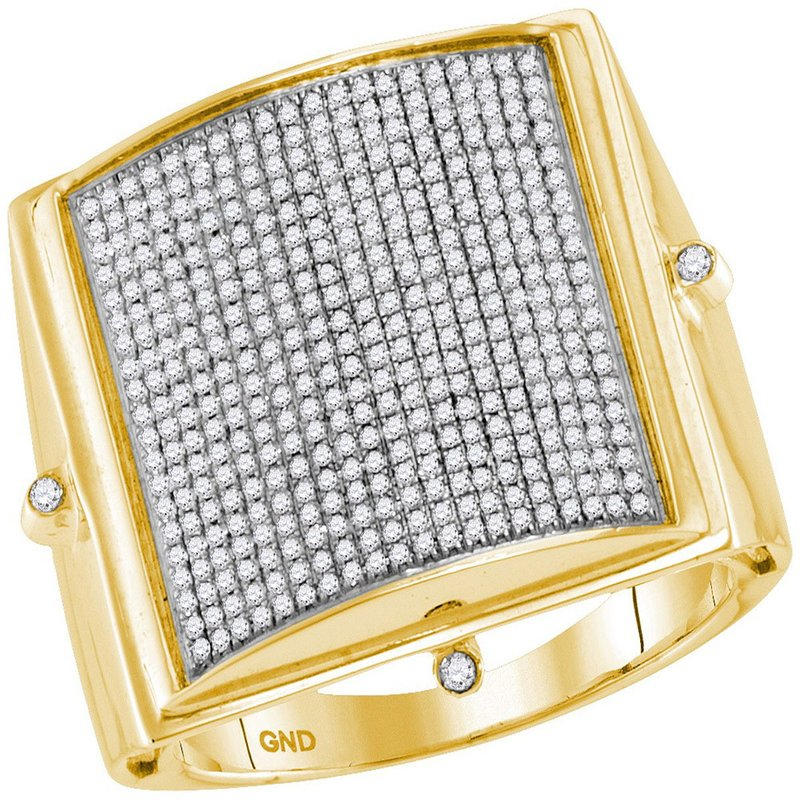 Gold-N-Diamonds, Inc. (Atlanta) 10kt Yellow Gold Mens Round Pave-set Diamond Square Dome Cluster Ring 7/8 Cttw
