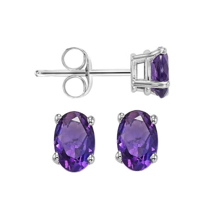 Gems One Oval Prong Set Amethyst Studs in 14K White Gold