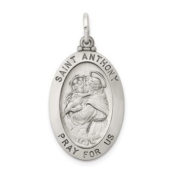 Sterling Silver Antiqued Saint Anthony Medal
