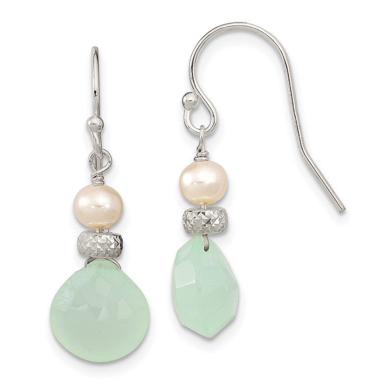 Quality Gold Sterling Silver Chalcedony and FWC Pearl Dangle Earrings