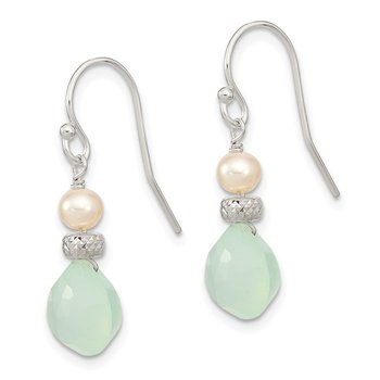Sterling Silver Chalcedony and FWC Pearl Dangle Earrings
