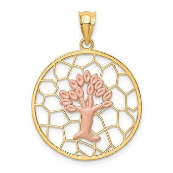 14K Two-tone Brushed & Polished Tree of Life Pendant