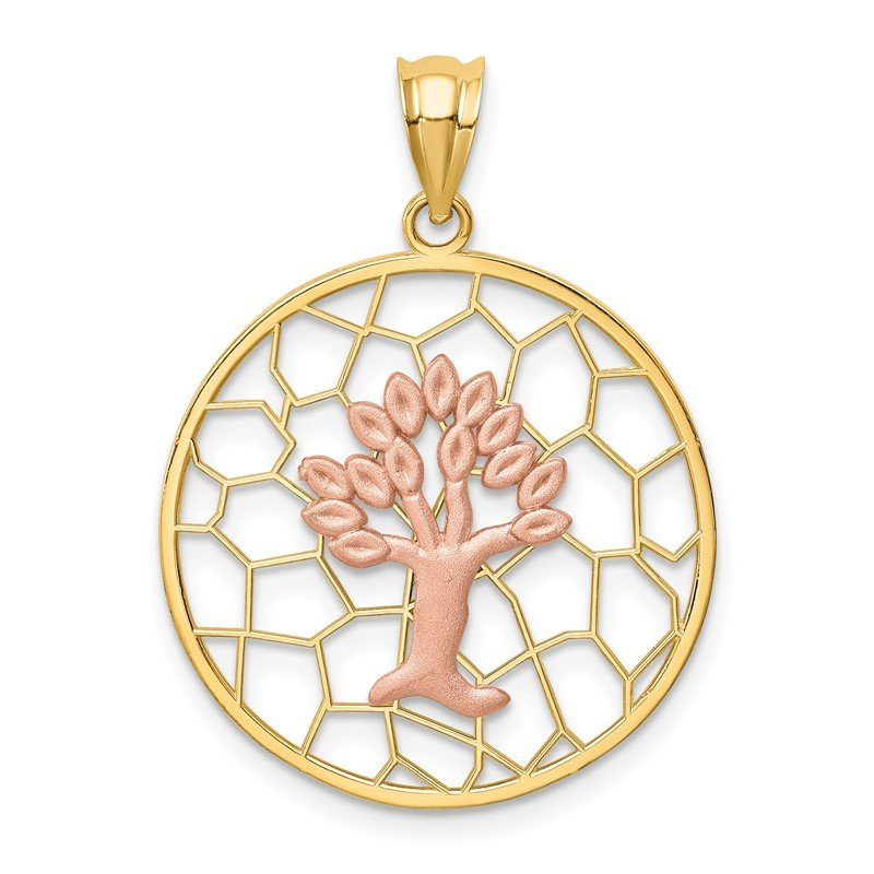 Quality Gold 14K Two-tone Brushed & Polished Tree of Life Pendant