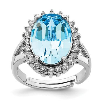Sterling Silver RH-plated Clear/Blue Crystal Oval Adjustable Ring