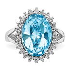 Quality Gold Sterling Silver RH-plated Clear/Blue Crystal Oval Adjustable Ring