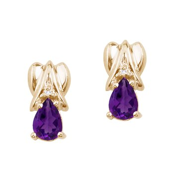 14k Yellow Gold Amethyst and Diamond Pear Shaped Earrings