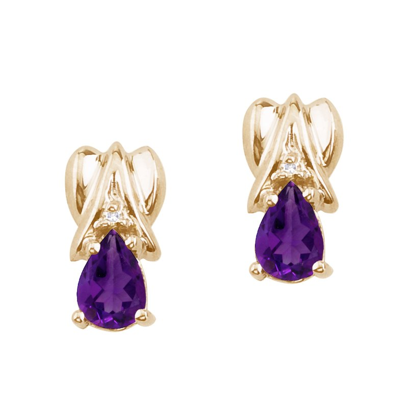 Color Merchants 14k Yellow Gold Amethyst and Diamond Pear Shaped Earrings