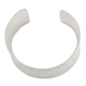 Sterling Silver 39.5mm Hammered Cuff Bangle