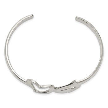 Sterling Silver Polished Double Heart Cuff Bangle