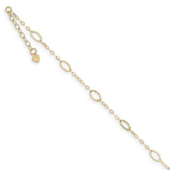 14k Oval Shapes 9in Plus 1in ext Anklet