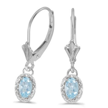 14k White Gold Oval Aquamarine And Diamond Leverback Earrings