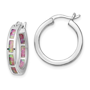 Sterling Silver Rhodium-plated Pink Created Opal In/Out Hoops