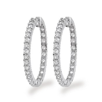 Diamond Inside Outside Hoop Earrings in 14k White Gold with 54 Diamonds weighing 2.18ct tw.