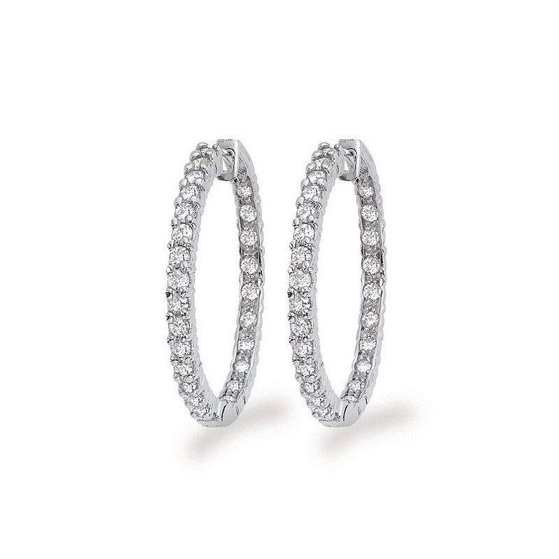 KC Designs Diamond Inside Outside Hoop Earrings in 14k White Gold with 54 Diamonds weighing 2.18ct tw.