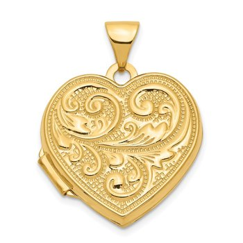 14k Scrolled LOVE YOU ALWAYS Heart Locket