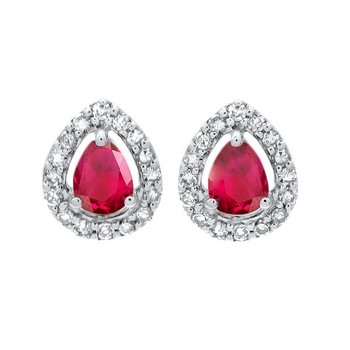 Diamond Halo and Ruby Prong Set Earrings in 10K White Gold (1/250 ct. tw.)
