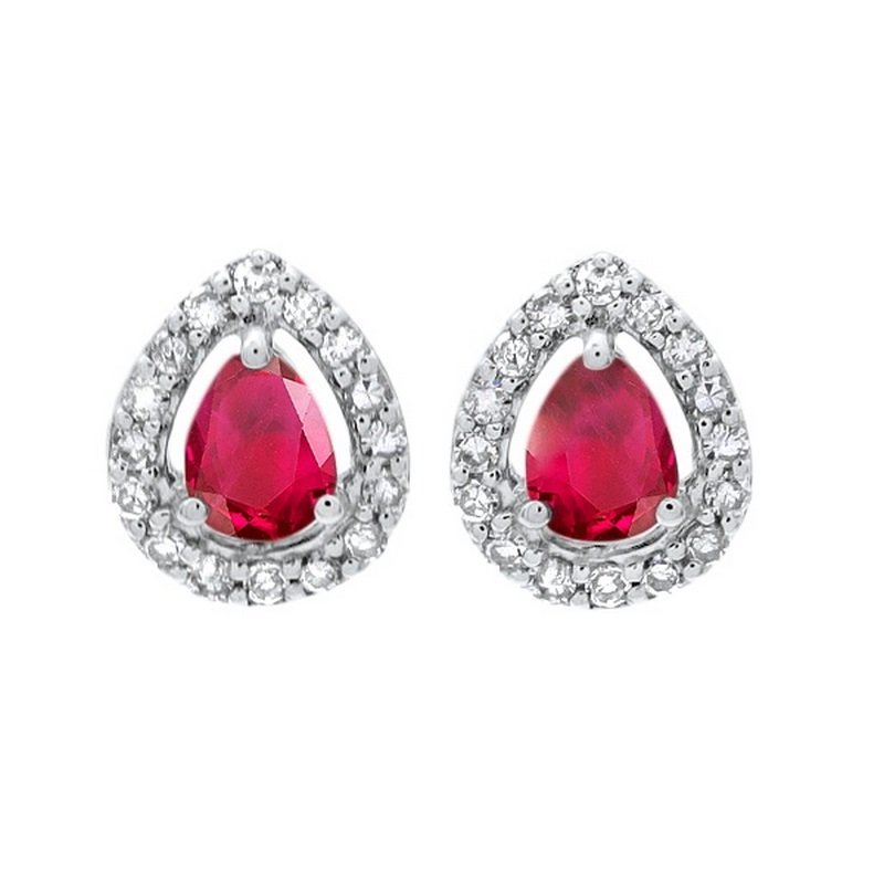 Gems One Diamond Halo and Ruby Prong Set Earrings in 10K White Gold (1/250 ct. tw.)