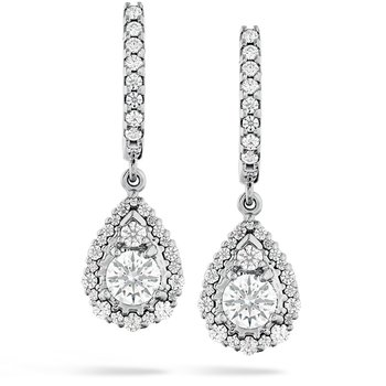 1.25 ctw. HOF Teardrop Halo Drop Earrings
