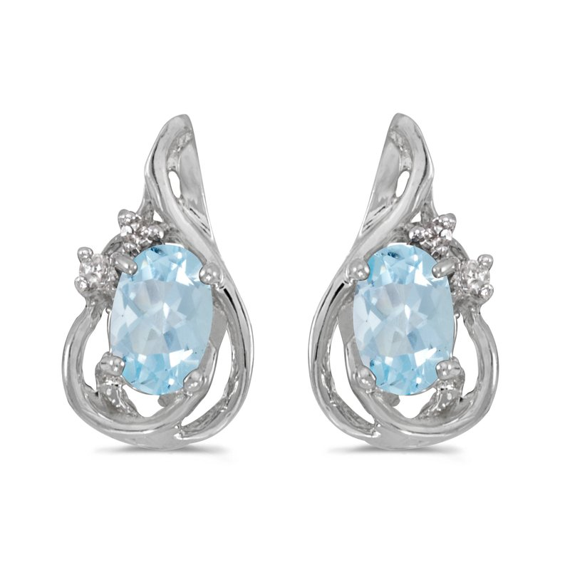 Color Merchants 14k White Gold Oval Aquamarine And Diamond Teardrop Earrings