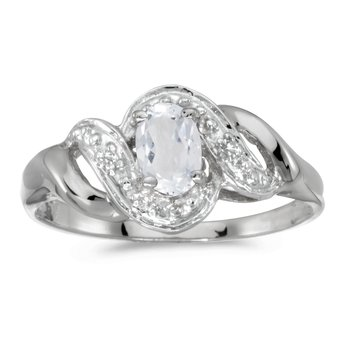 14k White Gold Oval White Topaz And Diamond Swirl Ring