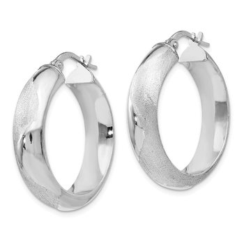 Leslie's SS Rhodium-plated Hoop Earrings