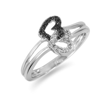 10K WG Black and White Twin Hearts Diamond Ring