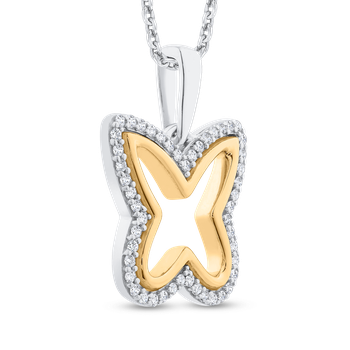 Round Cut Diamond Butterfly Pendant