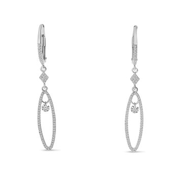 14K White Gold Oval Hanging Diamond Earrings