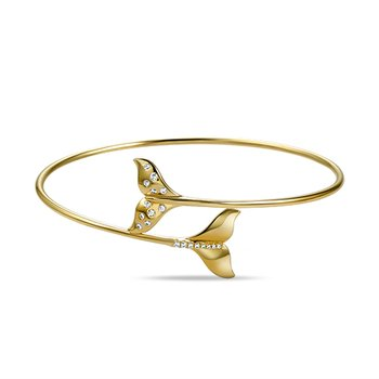 14K fish tale flexible bangle with 19 diamonds 0.045ct tw