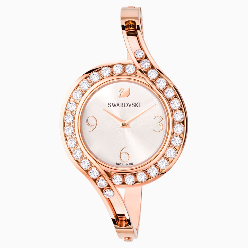 Swarovski Lovely Crystals Bangle Watch, Metal bracelet, White, Rose-gold tone PVD