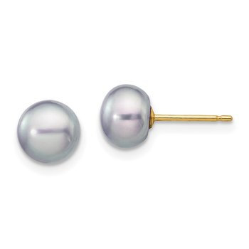 14k 6-7mm Grey Button FW Cultured Pearl Stud Post Earrings