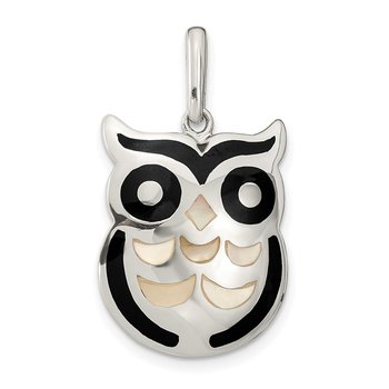 Sterling Silver MOP and Onyx Owl Pendant