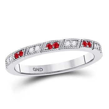 10kt White Gold Womens Round Ruby Diamond Milgrain Stackable Band Ring 1/4 Cttw