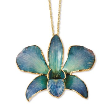 24K Gold-trim Lacquer Dipped Blue Dendrobium Orchid 20in Gold-tone Necklace